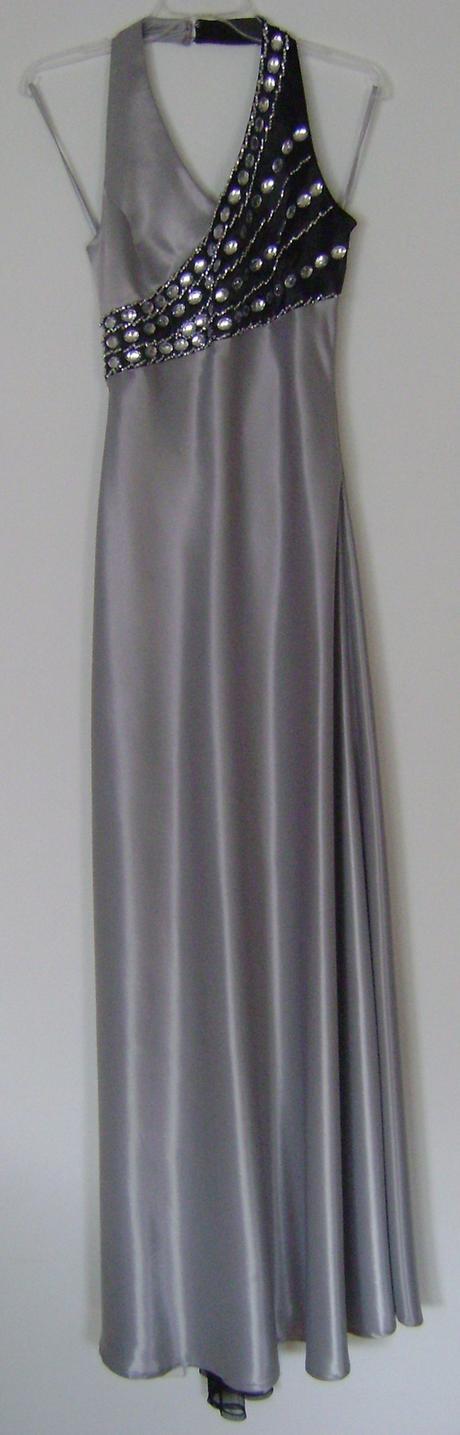 dlhé spoločenské šaty, neutrálna šedá, 40