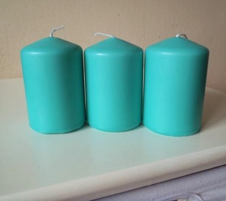 3 x tirkisová sviečka,