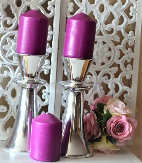 3 x valcová fialová sviečka,