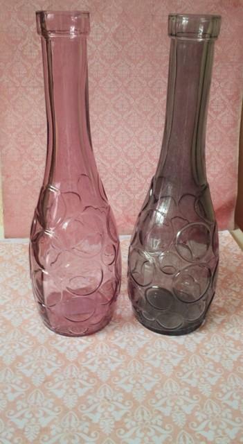 sklenená ružová váza-karafa-26cm,