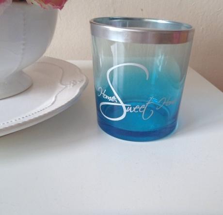 sklenený svietnik-home sweet home,