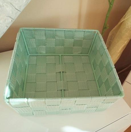 textilný zelený košík,
