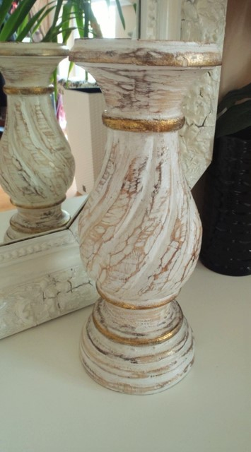 vysoký drevený patinovaný svietnik-30cm,
