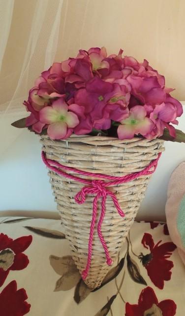 závesná dekorácia s hortenziou,