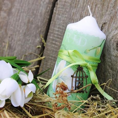 zelená sviečka orchidea-ručná práca,