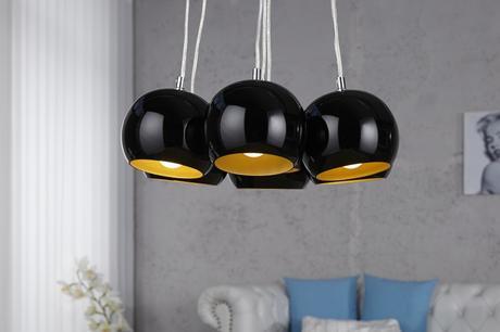 Závesná lampa Black Golden Pearls,