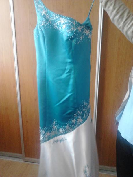 Tyrkysovo - biele spoločenské šaty, 38