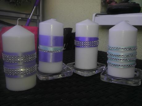 Svíčky lila-tyrkys,