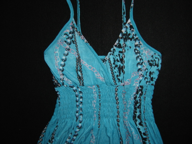 b26d6e69729c Tyrkysové dlhé šaty-oblečené 1x-veľ. s m