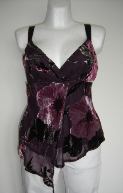 Šifónovo zamatový top+fialové nohavice-outfit, 38
