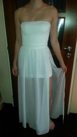 050078a5082f Biele šaty s vysokým rozparkom na boku