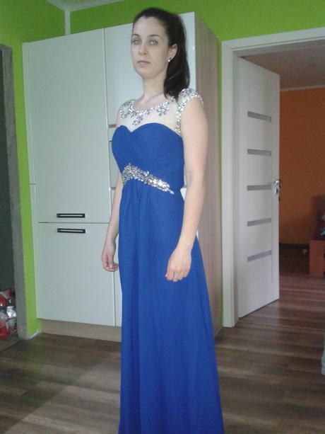 Kráľovsky modré šaty s kamienkami, 34