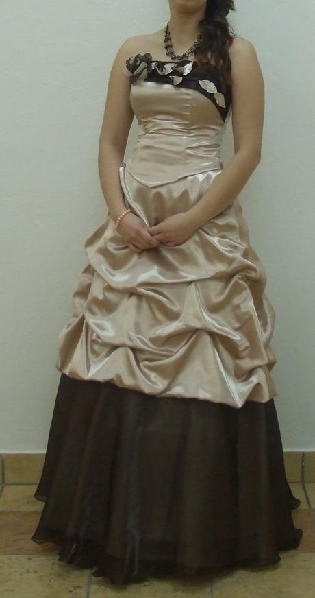 Smotanovo - hnedé spoloč. šaty, 34