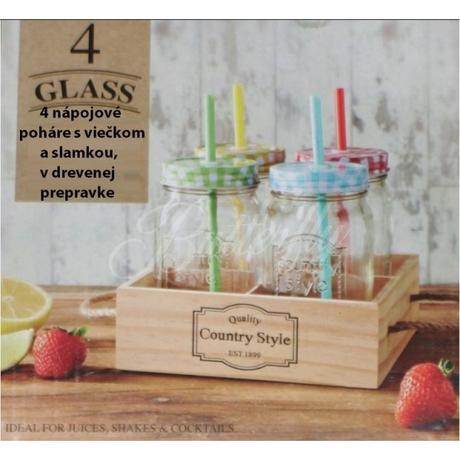 4 Vintage poháre so slamkami + prepravka,