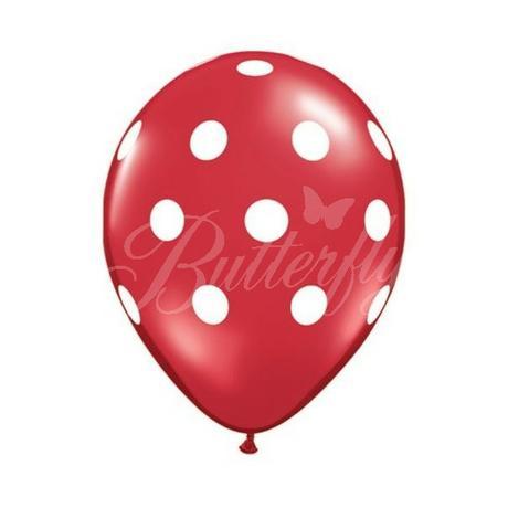 Balón bodkový - červený,