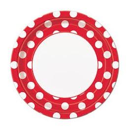 Bodkované tanieriky / červené DOT,