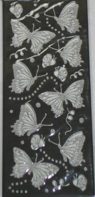 Dekoračná nálepky - motýle / trblietavné,