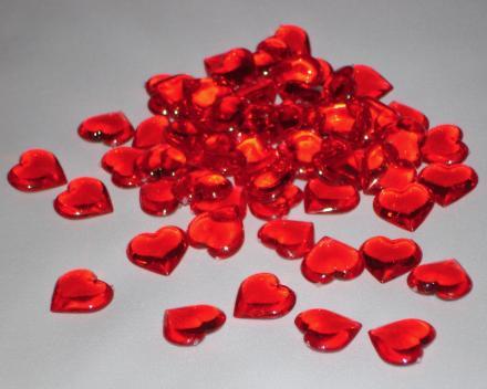 Dekoračné srdiečka 3D - červené 60ks,