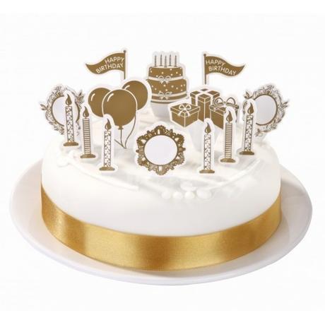 Dekoračný set na tortu / zlatý,