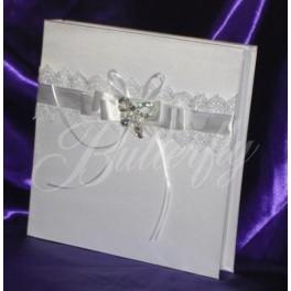 Fotoalbum - biely s kryštálovou brošňou,