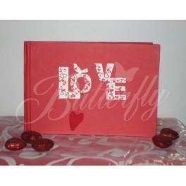 """Kniha hostí """"Love"""" - červená,"""