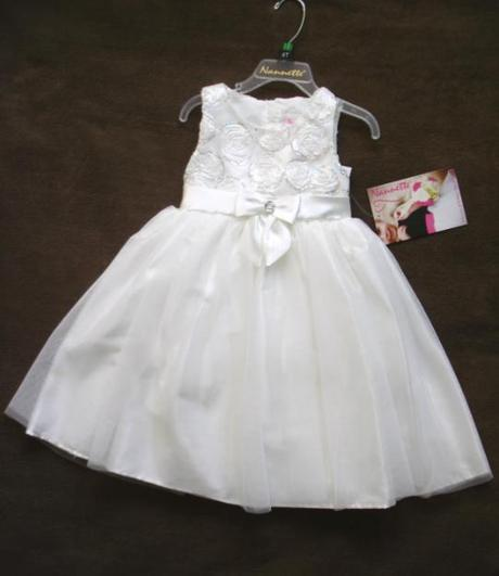 Krémové šaty s mašľou, 104