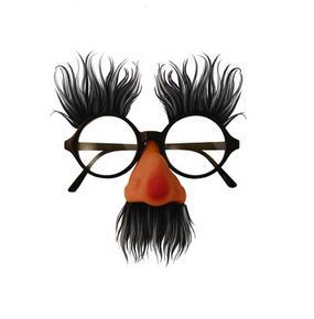 Okuliare s fúzmi, nosom a obočím /sivo-čierne,