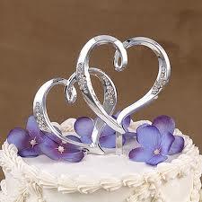 Ozdoba na tortu - dvojité srdce s kryštálikmi,