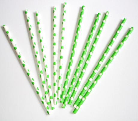 Papierové slamky bodkované 10ks / zelené,