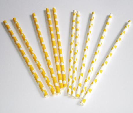 Papierové slamky bodkované 10ks / žlté,