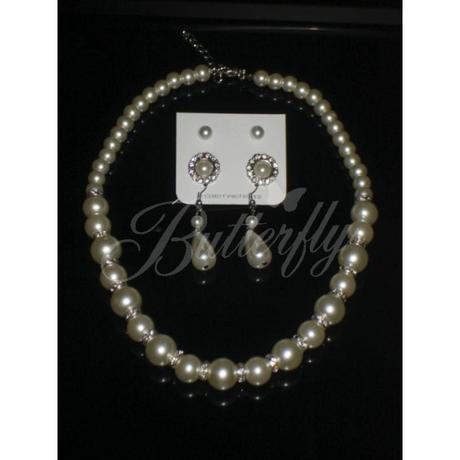 Perlový set / náhrdelník + 3x náušnice,