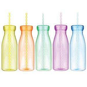 Plastová fľaška s vrchnákom a slamkou,