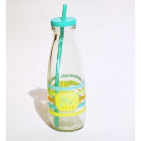 Retro fľaška s vrchnákom a slamkou,