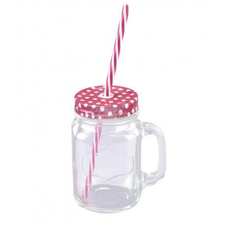 Retro pohár s bodkovaným viečkom a slamkou,