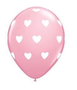 Ružový balón so srdiečkami ,