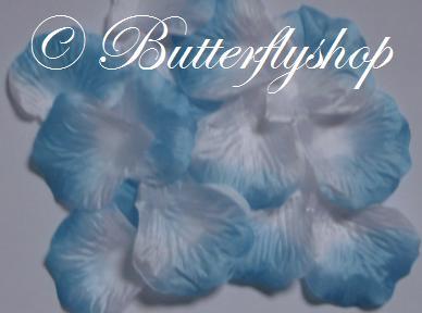 Textilné lupene ruží - bielo-tyrkysové 100ks,