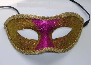 Trblietavá maska - cyklaménovo-zlatá ,