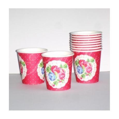 Vintage poháriky - červené 10ks,