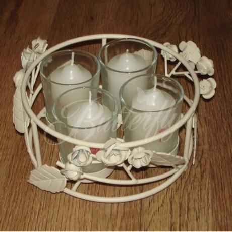 Vintage svietnik + 4 sviečky,