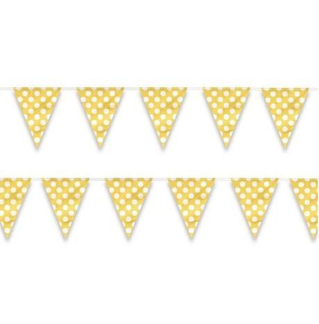 Vlajková girlanda  bodková 3,65m  žltá,