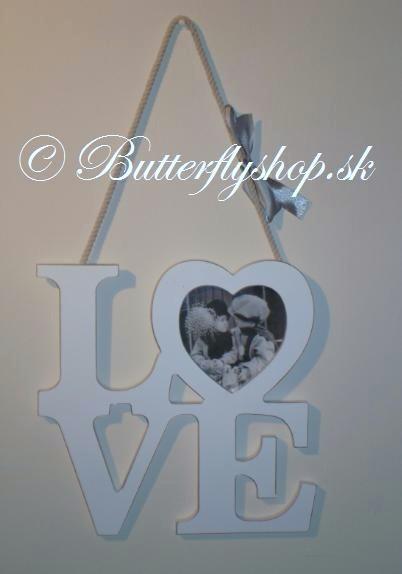 Závesná dekorácia LOVE - biela / fotorámik,