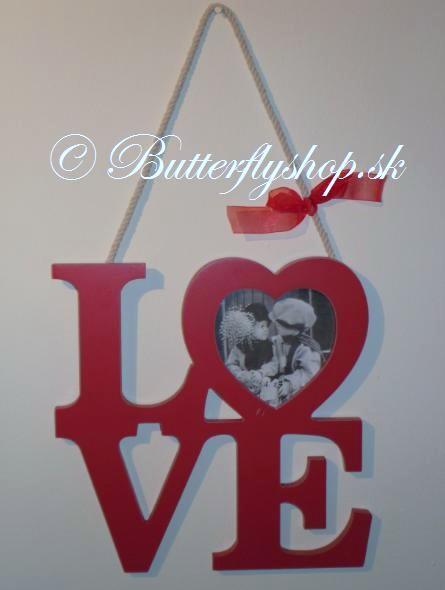 Závesná dekorácia LOVE - červená / fotorámik,