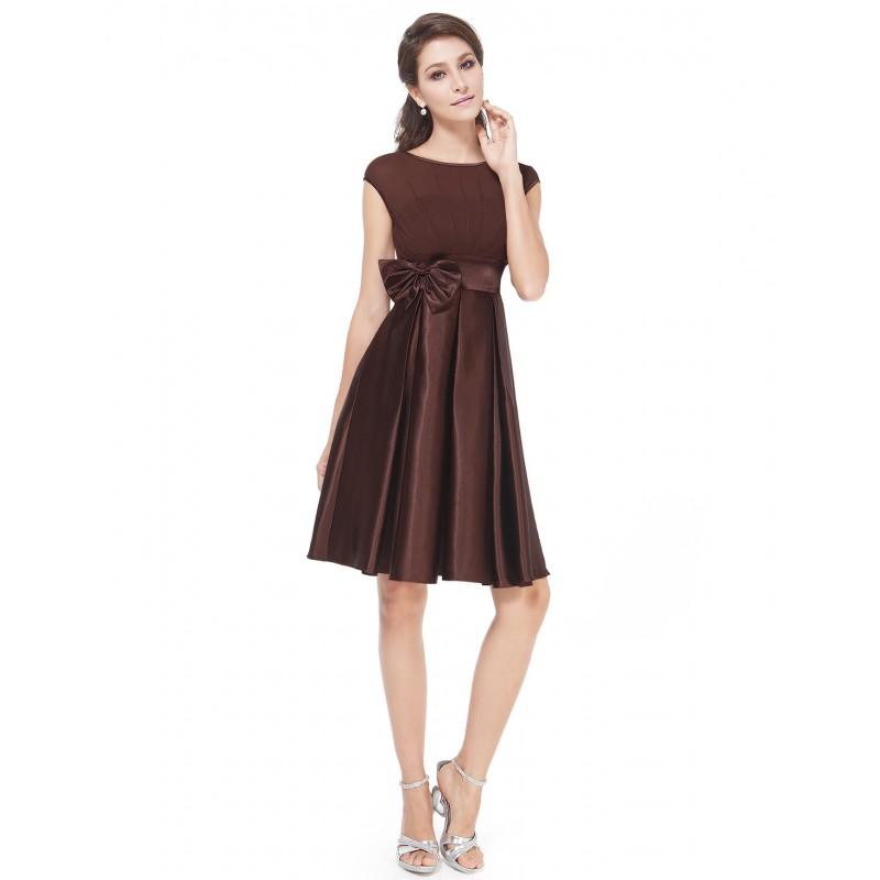 Krátké hnědé společenské šaty na ramínka joan  bab10e77b2