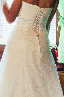 Čipkované svadobné šaty + darček (závoj,bolerko), 36