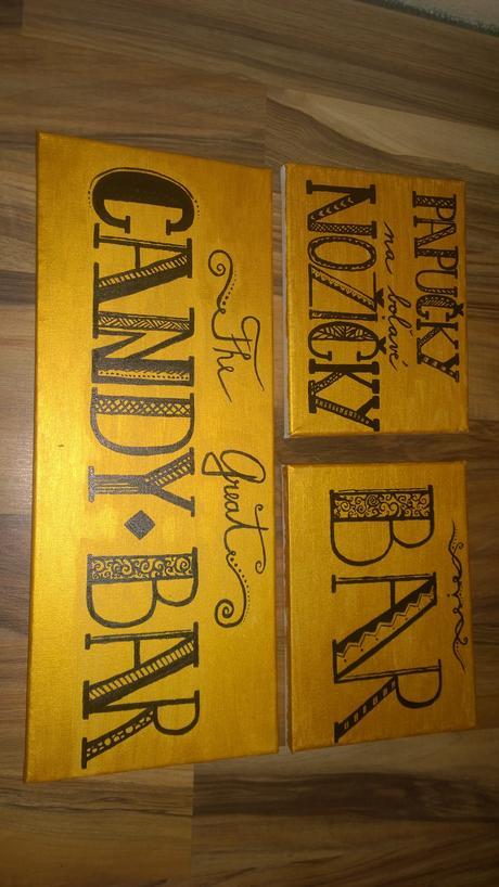 Zlaté nápisy Candy Bar , Bar, papučky,
