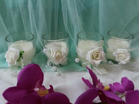 Dekorativní svíčky 4ks s růžičkami,