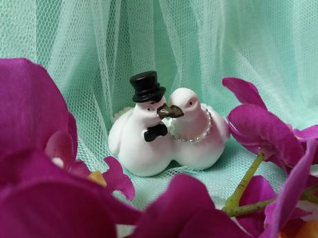 Figurky Hrdličky na dort holoubci ženich a nevěsta,
