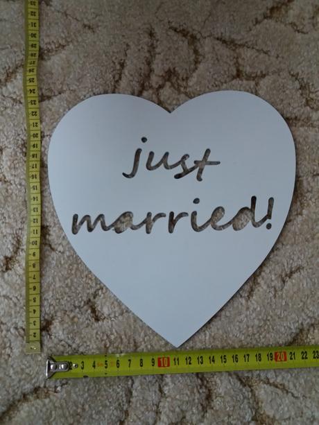 Fotodekorace, na stůl, srdce, just married,