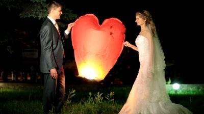 Lampiony štěstí/přání ve tvaru srdce,