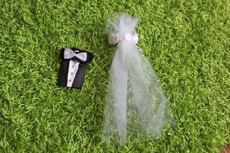 Návlek obal na skleničku ženich a nevěsta,